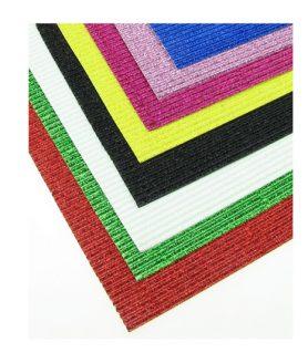 Гофриран картон за апликация  с брокат АСОРТЕ 20 x 30 cm A 4