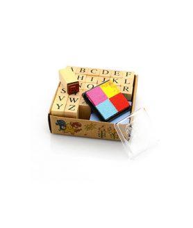 Комплект дървени печати 13 x 13 mm - азбука