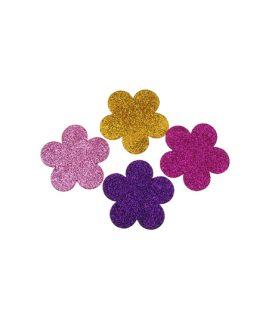 Елемент декорация - цвете с брокат за лепене  57 x  2 mm