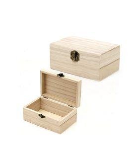 Дървена кутия 125 x 90 x 65 mm с метална закопчалка