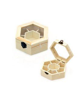 Дървена кутия 150 x 130 x 50 mm шестоъгълна