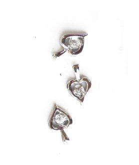 Метална висулка сърце с кристал 10 x 15 mm