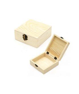 Дървена кутия за декорация 120 х 120 х 50 mm