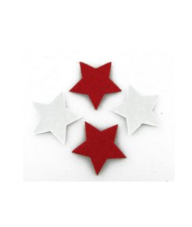 Филц фигурка за декорация бяла и червена 32 x 2 mm