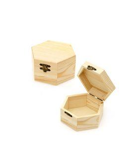 Дървена шестоъгълна кутия  120 x 105 x 65 мм