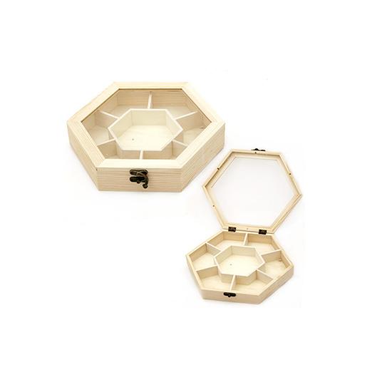 Дървена кутия - шестоъгълна 250 x 220 x 45 mm