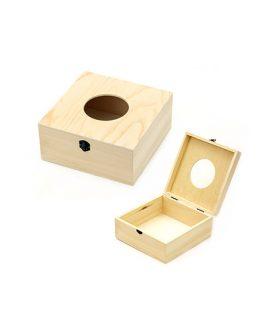 Дървена кутия за салфетки 180 x 180 x 80  mm