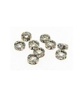 Метална шайба с кристали за декорация 4 x 2 mm
