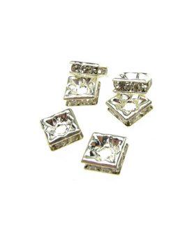 Метален квадрат с кристали за декорация 6 mm