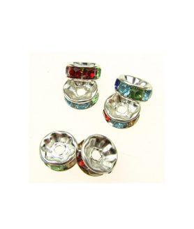Метален разделител с кристали Асорте 7 x 3 mm