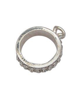 Метална висулка с кристали - кръг 23 x 29 x 6.5 mm