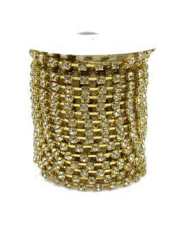 Лента - метална  за бижута с кристали SS14  3.3 mm x 1 m