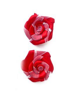 Сатенена роза с органза  за декорация 50 mm