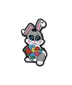 Bunny rubber figure for decoration 65 x 35 x 3 mm