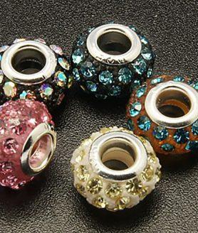 Стъклени мъниста с кристали 14 x 9 mm АСОРТЕ