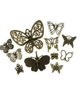 Метална висулка пеперуда 10~75x10~47x1~3 mm АСОРТЕ