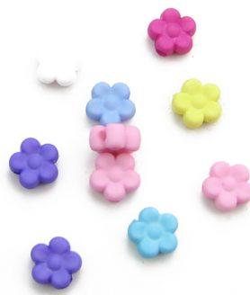 Матирани пластмасови мъниста цвете 9x4 mm АСОРТЕ